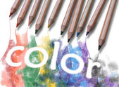 "The word ""color"" drawn with crayons — Stockfoto"