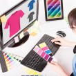 Graphic designer at work. Color samples. — Stock Photo #62995383