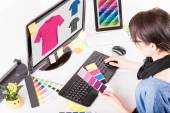 Graphic designer at work. Color samples. — Stock Photo