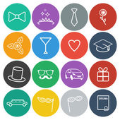 Flat Prom Icons — Stock Vector