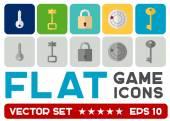 Vetor ícones plana jogos — Vetor de Stock