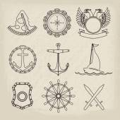 Nautical labels, icons and design elements — Stock Vector