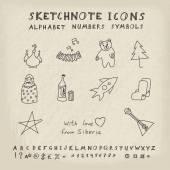 ícones russos doodle — Vetorial Stock