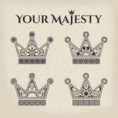 Ornamental Crowns — Stock Vector