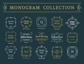 Vector vintage monogram set — Stock Vector