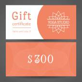 Yoga Studio Vector Gift Certificate Template — Stock Vector