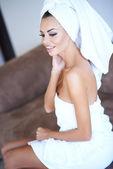 Smiling Woman Wearing White Bath Towel — Stock Photo