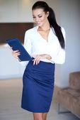 Stylish slender beautiful young woman — Stock Photo