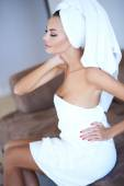 Woman Wearing Bath Towel with Hand on Hip — Stock Photo