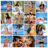 Multiple photos of sexy woman in tropical outdoors — Stock Photo