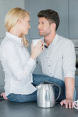 Loving couple drinking coffee together — Stock Photo