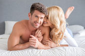 Sexy Young Couple on Bed Sweet Moments — Stock Photo