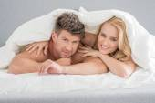 Middle Age Sweet Lovers on White Bed — Stock Photo
