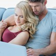 Sweet Middle Age Couple Watching Movie at Laptop — Stock Photo #54751231