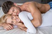 Smiling Middle Age Lovers Lying in Bed So Sweet — Stock Photo