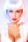 Woman with Cleavage Wearing White Wig — ストック写真