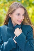 Close up Smiling Woman in Gray Coat Attire — Stock Photo