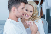 Beautiful blond woman relaxing with her husband — Stock Photo