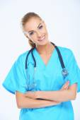 Smiling Medical Doctor on Light Blue Scrub Suit — Stock Photo