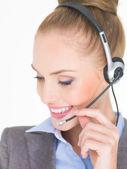 Close up Female Customer Service Operator on White — Stock Photo
