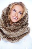 Smiling Blond Woman Wearing Fur Neck Warmer — Stock Photo
