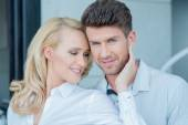 Close up Middle Age Sweet Couple on White Attire — Stock Photo