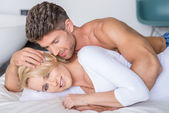 Romantic Partners Lying on Bed Fashion Shoot — 图库照片
