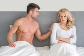 Not in Good Terms Young Couple on Bed — Photo
