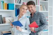 Smiling Sweet Partners Posing at Mini Library — Stock Photo