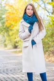 Woman Wearing Long Coat Outside in Autumn — Stock Photo