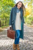 Young Woman in Autumn Season Attire at Pathway — Stock Photo