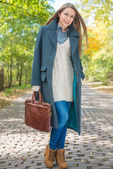 Young Woman in Autumn Season Attire at Pathway — Foto Stock