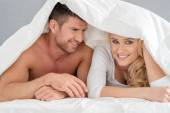 Close up Middle Age Romantic Couple on Bed — Stock Photo