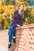 Young woman sitting on a brick wall — Stock Photo