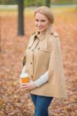 Blond Woman in Fashionable Brown Autumn Attire — Stock Photo