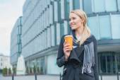 Businesswoman Outside Building with Coffee — Stock Photo
