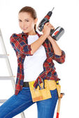 Competent young DIY woman — Stock Photo