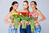 Topless Women Covering their Chests with Flowers — Photo