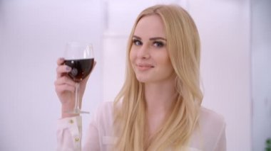 Adorable Blond Woman Rising Her Glass — Stock Video