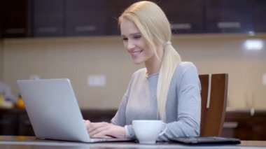 Smiling businesswoman typing on her laptop — Stock Video