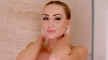 Woman Taking a Shower — Stock Video