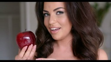 Smiling Pretty Woman Holding Apple — Stock Video