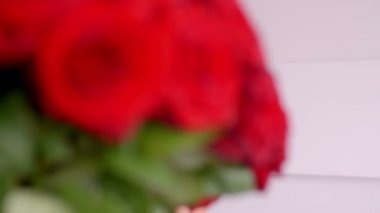 Woman with Fresh Red Rose  Bouquet — Stock Video