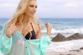 Pretty Blond Woman Wearing Light Mint Beachwear — Stock Photo