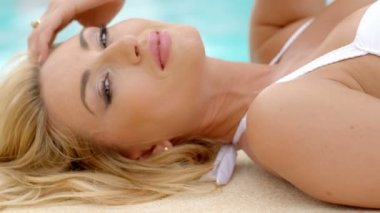 Blond Woman in Bikini  Next to Pool — Stock Video
