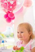 Little Girl with Birthday Present — Stock Photo