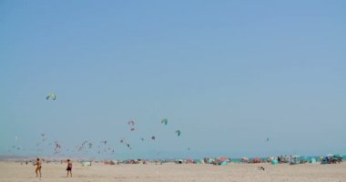 Crowdy Beach with Kite Surfers — Stock Video