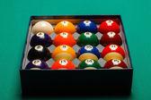 Full set of snooker balls inside an hard paper box — Stock Photo