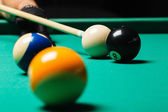 Billiard balls in a pool table. — Stock Photo