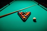 Billiard balls in a pool table. — Stockfoto